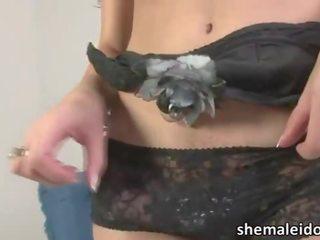 Shemale Ana Paula Samandat masturbates